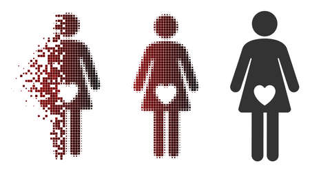 Vector mistress icon in fractured, dotted halftone and undamaged entire versions. Disintegration effect involves rectangular particles and horizontal gradient from red to black.