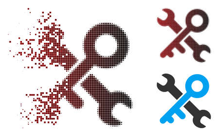 Vector key tools icon in dissolved, dotted halftone and undamaged solid variants. Disappearing effect involves rectangle sparks and horizontal gradient from red to black.