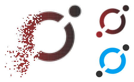 Vector node link icon in sparkle, pixelated halftone and undamaged whole variants. Disappearing effect uses rectangular sparks and horizontal gradient from red to black.