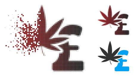 Vector marijuana pound business icon in dissolved, dotted halftone and undamaged whole versions. Disappearing effect uses rectangular dots and horizontal gradient from red to black.