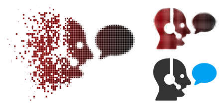 Vector operator message balloon icon in fractured, dotted halftone and undamaged solid variants. Disintegration effect involves square sparks and horizontal gradient from red to black.