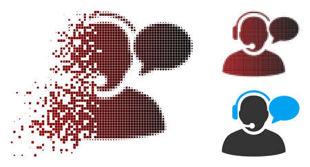 Vector operator message icon in dissolved, dotted halftone and undamaged solid variants. Disintegration effect uses rectangle particles and horizontal gradient from red to black.