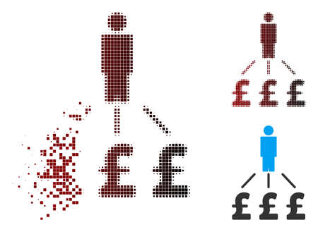 Vector person pound expenses icon in sparkle, pixelated halftone and undamaged solid versions. Disintegration effect involves rectangular sparks and horizontal gradient from red to black.