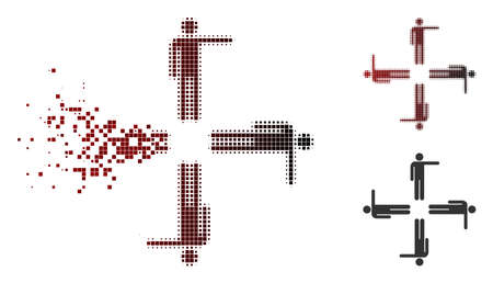 Vector pointing men icon in dispersed, dotted halftone and undamaged whole variants. Disappearing effect involves rectangular sparks and horizontal gradient from red to black. Illustration