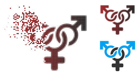 Vector polyandry icon in fractured, dotted halftone and undamaged solid variants. Disappearing effect involves rectangular particles and horizontal gradient from red to black.