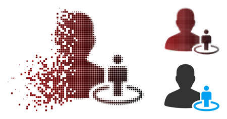 Vector portal moderator icon in fractured, pixelated halftone and undamaged entire variants. Disintegration effect uses square particles and horizontal gradient from red to black.
