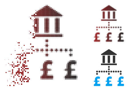 Vector pound bank payments icon in dissolved, pixelated halftone and undamaged entire variants. Disappearing effect involves rectangle sparks and horizontal gradient from red to black.
