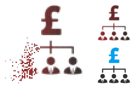 Vector pound banker links icon in fractured, dotted halftone and undamaged whole variants. Disintegration effect uses rectangle scintillas and horizontal gradient from red to black.