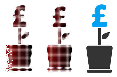 Vector pound business project plant icon in sparkle, dotted halftone and undamaged entire versions. Disappearing effect involves rectangular sparks and horizontal gradient from red to black.
