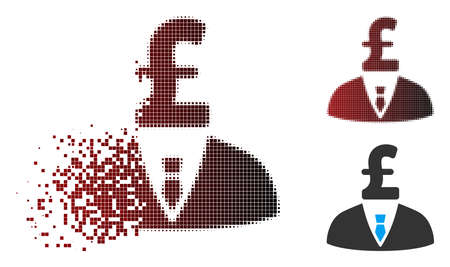 Vector pound businessman icon in sparkle, pixelated halftone and undamaged whole variants. Disintegration effect uses rectangle scintillas and horizontal gradient from red to black.