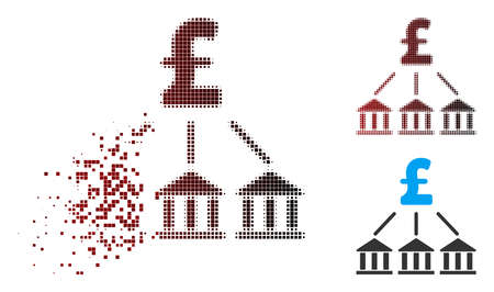 Vector pound bank association icon in dispersed, pixelated halftone and undamaged entire variants. Disintegration effect uses rectangular dots and horizontal gradient from red to black.