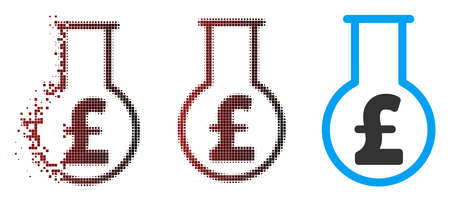 Vector pound financial alchemy icon in sparkle, pixelated halftone and undamaged whole variants. Disintegration effect involves square dots and horizontal gradient from red to black.