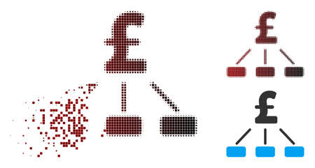 Vector pound hierarchy icon in sparkle, dotted halftone and undamaged solid versions. Disintegration effect involves square dots and horizontal gradient from red to black.