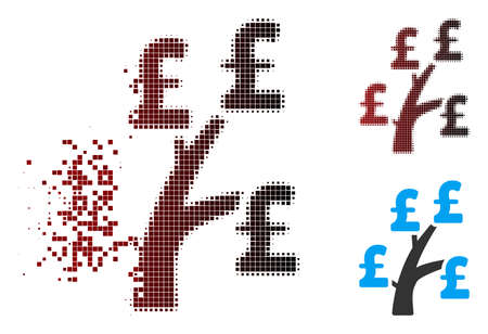 Vector pound money tree icon in sparkle, dotted halftone and undamaged entire versions. Disappearing effect uses square particles and horizontal gradient from red to black. Illustration