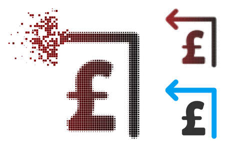 Vector pound moneyback icon in sparkle, pixelated halftone and undamaged solid variants. Disintegration effect involves rectangle dots and horizontal gradient from red to black.