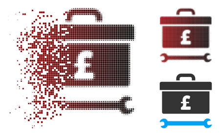 Vector pound toolbox icon in fractured, pixelated halftone and undamaged entire versions. Disappearing effect uses rectangular particles and horizontal gradient from red to black.
