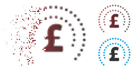 Vector pound sphere shield icon in fractured, pixelated halftone and undamaged solid versions. Disappearing effect uses rectangular scintillas and horizontal gradient from red to black. Illustration