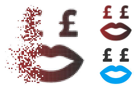 Vector pound prostitution smiley icon in dissolved, dotted halftone and undamaged entire variants. Disintegration effect uses rectangular scintillas and horizontal gradient from red to black. Illustration