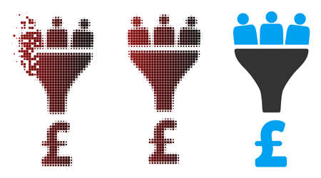 Vector pound sales funnel icon in fractured, dotted halftone and undamaged entire variants. Disintegration effect uses rectangle particles and horizontal gradient from red to black. Illustration