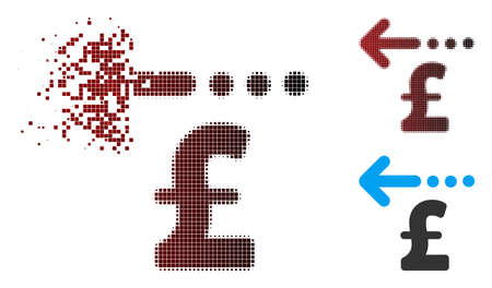 Vector refund pound icon in dispersed, dotted halftone and undamaged whole variants. Disintegration effect involves rectangle sparks and horizontal gradient from red to black. Illustration
