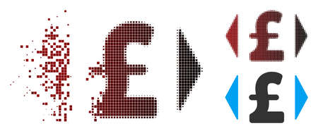 Vector regulate pound price icon in fractured, pixelated halftone and undamaged entire variants. Disappearing effect involves square scintillas and horizontal gradient from red to black.