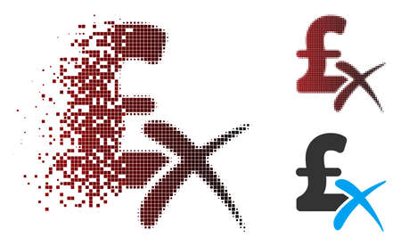 Vector reject pound icon in dispersed, pixelated halftone and undamaged whole variants. Disintegration effect involves square particles and horizontal gradient from red to black. Illustration