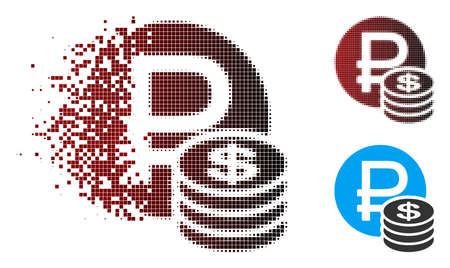 Vector rouble and dollar coins icon in fractured, pixelated halftone and undamaged whole versions. Disappearing effect uses square sparks and horizontal gradient from red to black.