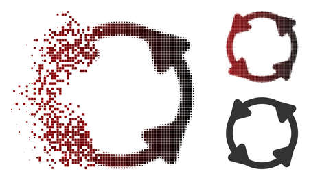 Vector rotate icon in sparkle, pixelated halftone and undamaged entire versions. Disappearing effect uses rectangular sparks and horizontal gradient from red to black. Illusztráció