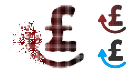 Vector repay pound icon in dispersed, dotted halftone and undamaged whole variants. Disappearing effect involves rectangular sparks and horizontal gradient from red to black.