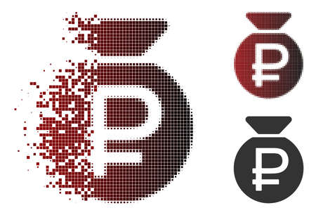 Vector rouble fund icon in sparkle, pixelated halftone and undamaged whole versions. Disappearing effect uses square particles and horizontal gradient from red to black.