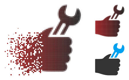 Vector service hand icon in dispersed, dotted halftone and undamaged entire versions. Disintegration effect uses rectangle sparks and horizontal gradient from red to black. Vectores