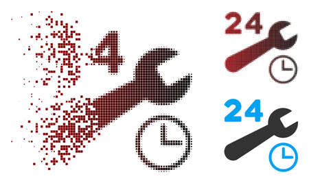 Vector service hours icon in dispersed, dotted halftone and undamaged whole versions. Disappearing effect uses square dots and horizontal gradient from red to black.