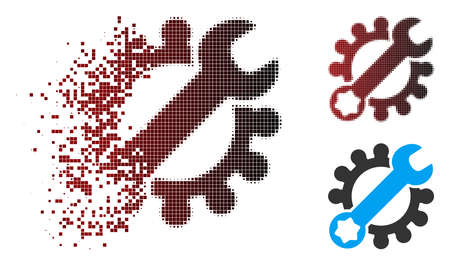 Vector service tools icon in dissolved, pixelated halftone and undamaged solid variants. Disappearing effect involves square dots and horizontal gradient from red to black.