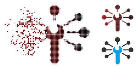 Vector service wrench relations icon in dispersed, dotted halftone and undamaged whole variants. Disappearing effect involves rectangular scintillas and horizontal gradient from red to black. Illustration