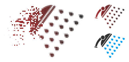 Vector shower icon in dispersed, dotted halftone and undamaged entire versions. Disappearing effect involves square sparks and horizontal gradient from red to black. Illustration