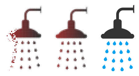 Vector shower icon in sparkle, dotted halftone and undamaged solid variants. Disappearing effect involves rectangle sparks and horizontal gradient from red to black.