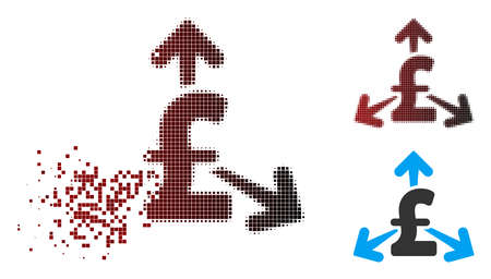 Vector spend pound money icon in dispersed, dotted halftone and undamaged whole versions. Disappearing effect uses square sparks and horizontal gradient from red to black. Vetores