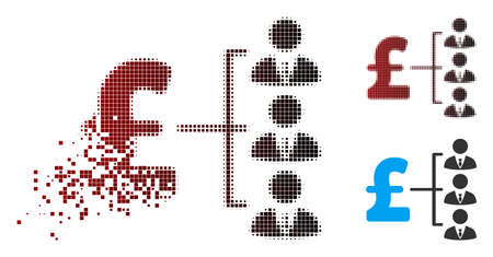 Vector staff pound payment icon in sparkle, pixelated halftone and undamaged whole variants. Disintegration effect involves rectangular dots and horizontal gradient from red to black.