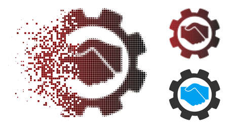 Vector smart contract setup gear icon in dispersed, pixelated halftone and undamaged solid versions. Disintegration effect involves square scintillas and horizontal gradient from red to black.