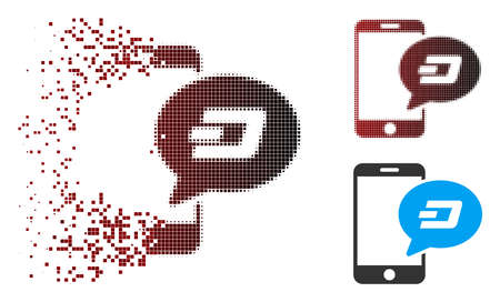 Vector smartphone Dash message icon in sparkle, dotted halftone and undamaged solid variants. Disappearing effect uses rectangular particles and horizontal gradient from red to black.