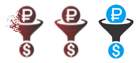 Vector rouble currency conversion icon in sparkle, pixelated halftone and undamaged whole versions. Disintegration effect involves square particles and horizontal gradient from red to black.