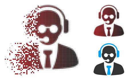 Vector support manager icon in dispersed, dotted halftone and undamaged whole variants. Disintegration effect uses rectangular particles and horizontal gradient from red to black.