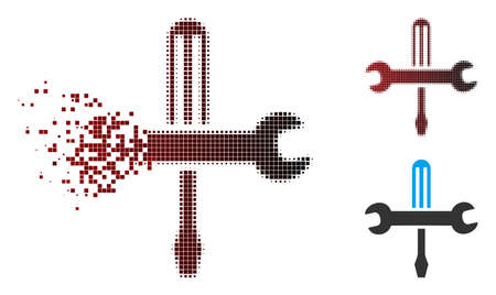 Vector tools icon in sparkle, pixelated halftone and undamaged solid variants. Disintegration effect involves rectangular scintillas and horizontal gradient from red to black. Illusztráció