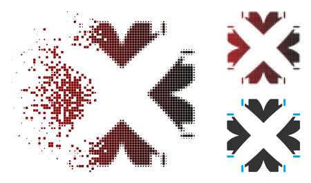 Vector tent camp icon in fractured, dotted halftone and undamaged whole versions. Disintegration effect uses rectangle particles and horizontal gradient from red to black.