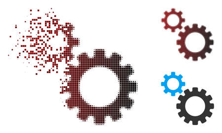 Vector transmission gears icon in dispersed, pixelated halftone and undamaged solid variants. Disappearing effect involves rectangle dots and horizontal gradient from red to black.
