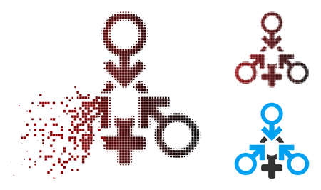 Vector triple penetration sex icon in dissolved, dotted halftone and undamaged entire variants. Disappearing effect uses rectangle dots and horizontal gradient from red to black.