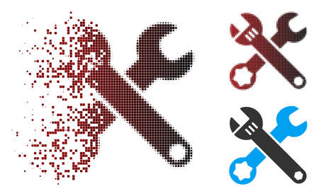 Vector wrenches icon in sparkle, pixelated halftone and undamaged whole variants. Disappearing effect involves rectangular dots and horizontal gradient from red to black.
