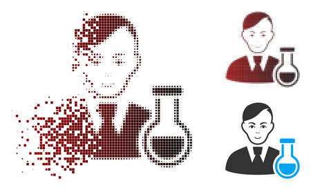 Vector chemist icon in sparkle, dotted halftone and undamaged whole variants. Disappearing effect involves square sparks and horizontal gradient from red to black. Illustration