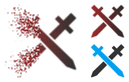 Vector crossing swords icon in dispersed, dotted halftone and undamaged whole variants. Disintegration effect involves rectangular scintillas and horizontal gradient from red to black.