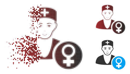 Vector gynecologist doctor icon in dispersed, dotted halftone and undamaged whole variants. Disintegration effect involves rectangle particles and horizontal gradient from red to black.
